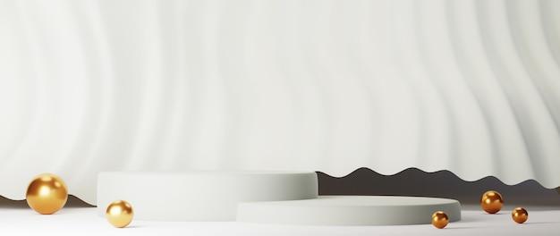 最小限の豪華な白いデザイン白いコンクリートの壁の背景にシリンダーボックスの表彰台。ディスプレイシーンステージプラットフォームのショーケース、製品、プレゼンテーション、化粧品。 3dレンダリング