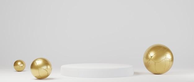 最小限の豪華な白いデザイン白いコンクリートの壁にシリンダーボックスの表彰台。ディスプレイシーンステージプラットフォームのショーケース、製品、プレゼンテーション、化粧品。 3dレンダリング