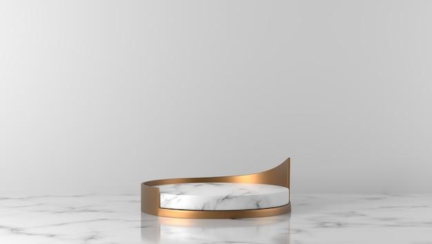 Minimal luxury white marble cylinder podium in white background