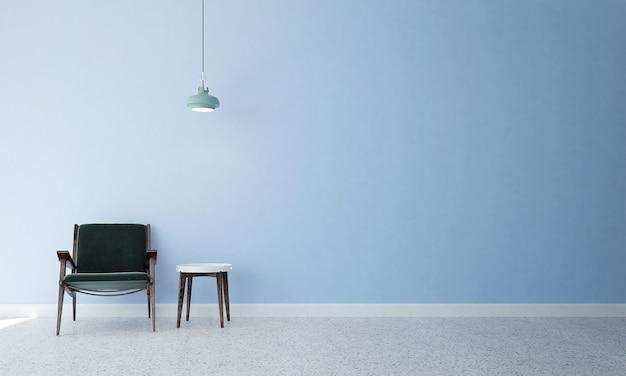 Минималистичный макет декора и мебели и гостиной и голубой стены текстуры фона дизайн интерьера