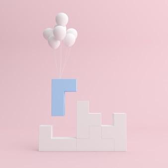 Минимальная макет сцены из сложенных геометрических блоков и плавающих воздушных шаров