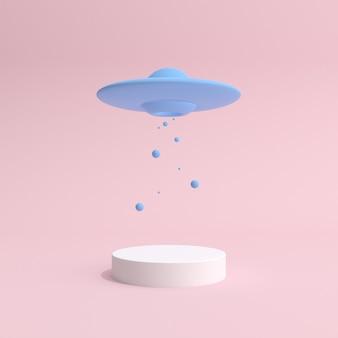 Минимальная макетная сцена нло, парящая над белым подиумом. презентация продукта