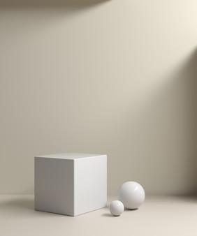 빛과 베이지 색 3d 렌더링으로 최소 모형 깨끗한 흰색 연단