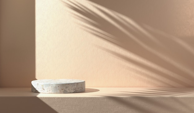 Minimal mockup empty stone podium with sunshade shadow palm leaf on concrete wall abstract background 3d render