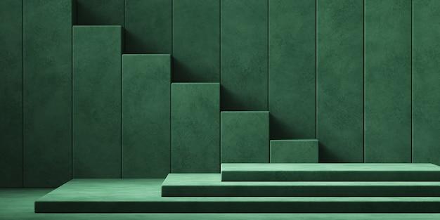 제품 프리젠 테이션을위한 최소 모형 녹색 배경 단계, 3d 렌더링 그림