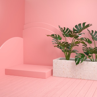 Minimal mockup pink platform with monstera plants and wooden floor 3d render