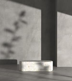 コンクリートの壁に日光植物の影が付いた最小限のモックアッププラットフォーム