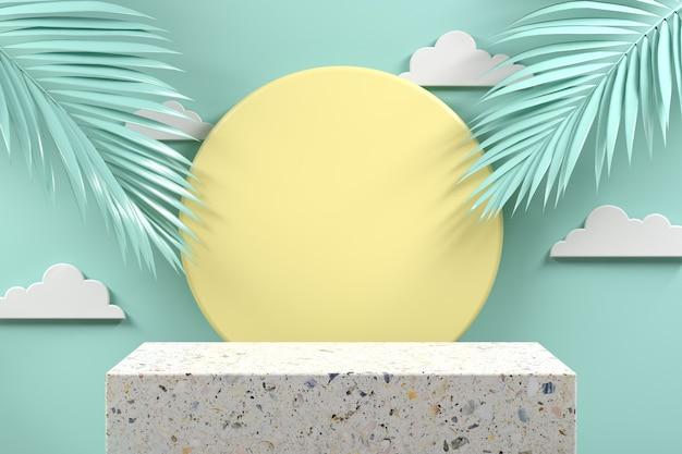 민트 파스텔 추상적 인 배경 3d 렌더링에 팜 리프와 최소한의 모형 연단 terrazzo