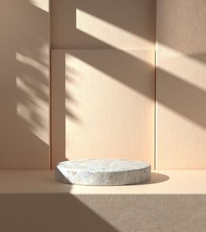 Minimal mockup podium with sunshade shadow on beige plaster wall