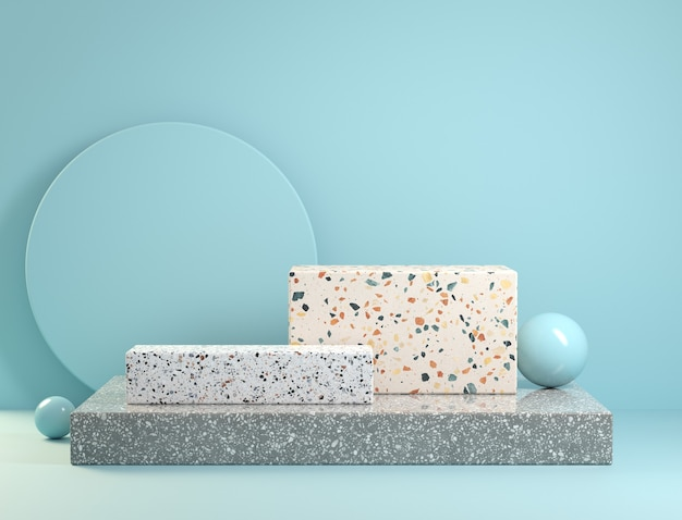 Minimal mockup step marble podium geometry composition on blue abstract background 3d render