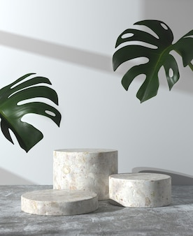 Minimal mockup step podium on concrete floor and monstera with sunshade wall 3d render