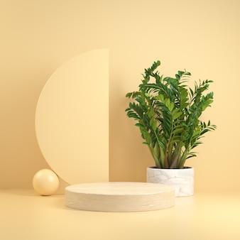 Minimal modern mockup wood pedestal geometric
