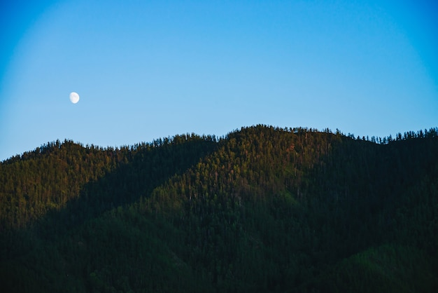 Minimal mountain landscape with big forest mountains under clear blue sky with moon.