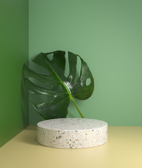 Minimal natural mockup white podium display with monstera leaves tropical plant background 3d render
