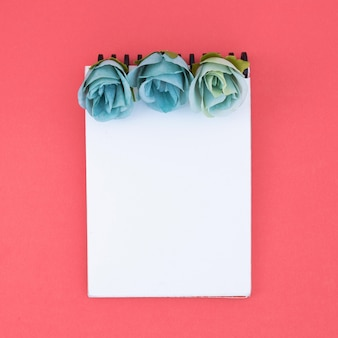 Minimal notebook with flowers