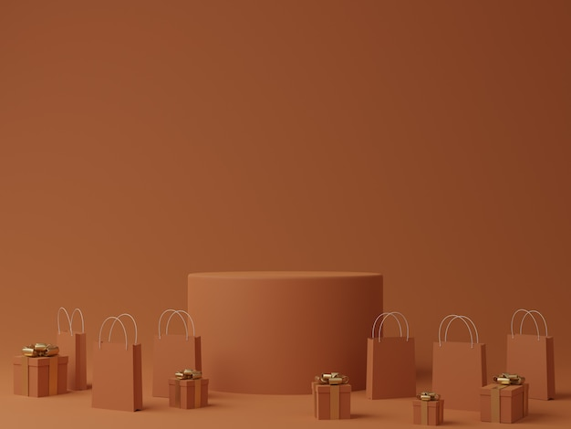 연단, 선물 상자 및 제품 쇼핑백이있는 최소한의 오렌지색 배경