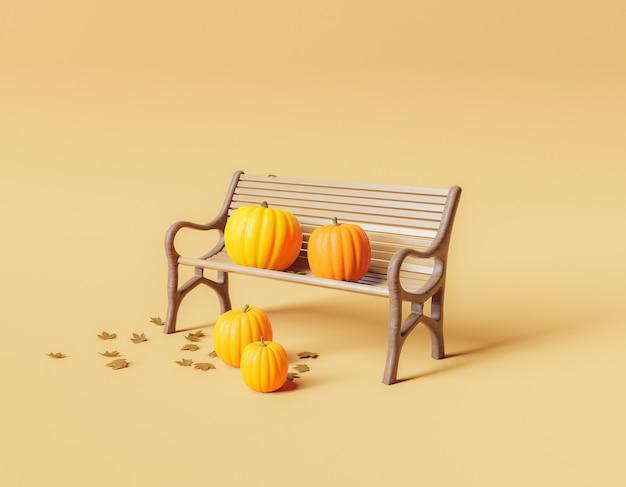 Минималистичная скамейка в парке с тыквами