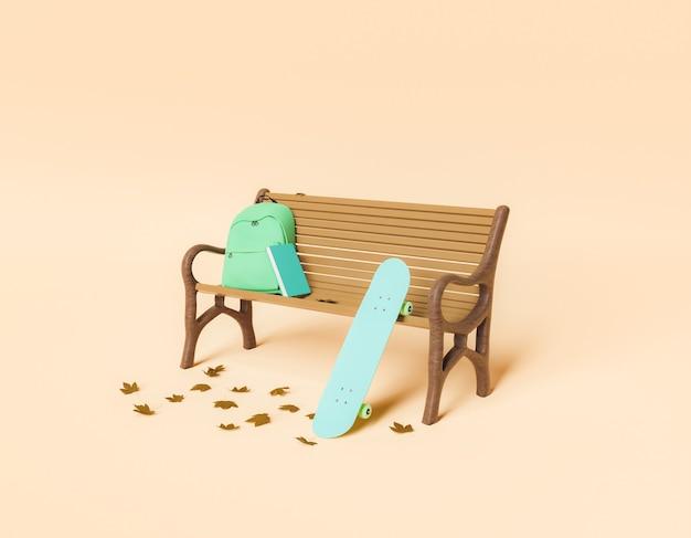Минималистичная скамейка в парке со школьной сумкой и скейтбордом