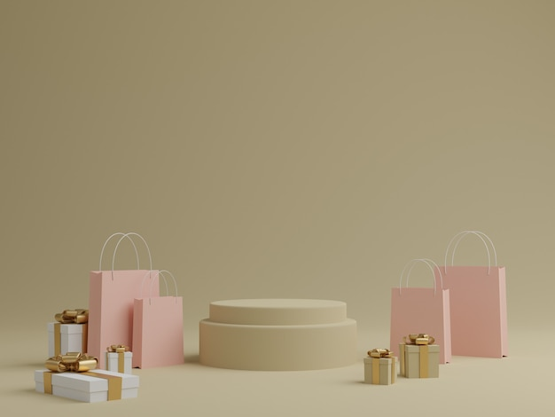 연단, 선물 상자 및 제품에 대한 쇼핑백과 최소한의 파스텔 배경. 3d 렌더링.