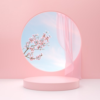 最小限のパステルカラーの製品は、ピンクの背景に花の花で表彰台を表示します