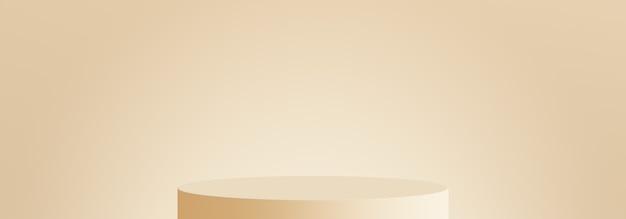 Minimal peach skin tone podium display background 3d render