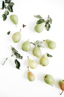 Minimal pears fruit and leaves pattern on white background. flat lay, top view