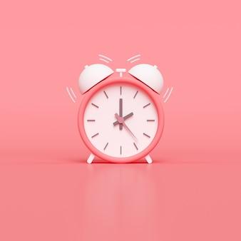 Minimal pink alarm clock. 3d render