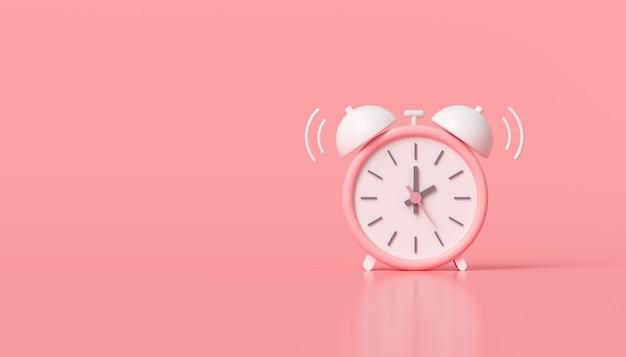 最小限のピンクの目覚まし時計