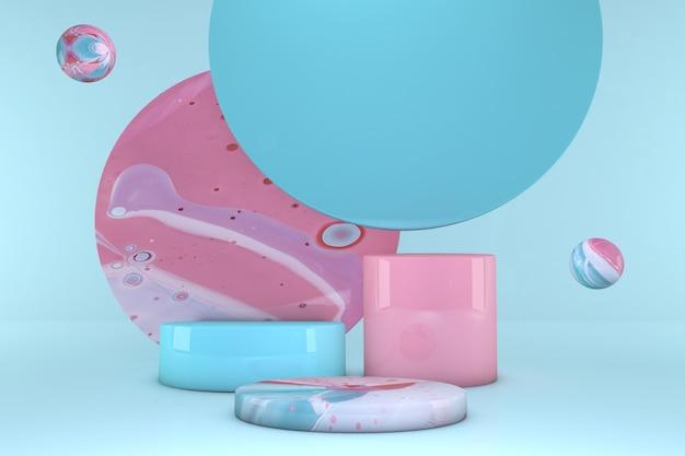 パステルカラーの背景に分離された球体を持つ最小限のピンクとブルーの表彰台。幾何学模様。最小限の3dレンダリング。化粧品の幾何学的な形のシーン。 3dレンダリング。