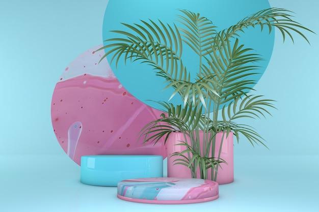 パステルカラーの背景に分離された熱帯の手のひらで最小限のピンクとブルーの表彰台幾何学的形状最小限の3dレンダリング化粧品の幾何学的な形のシーン3dレンダリング