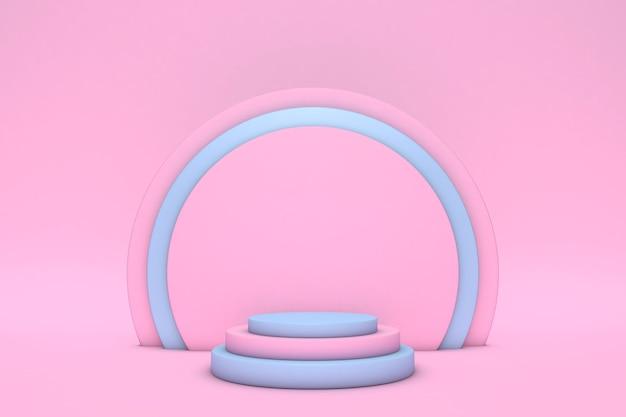 파스텔 배경에 고립 된 연단과 최소한의 핑크와 블루 장면. 기하학적 모양. 최소한의 3d 렌더링. 기하학적 형태와 화장품에 대한 깨끗한 배경이있는 장면. 3d 렌더링.