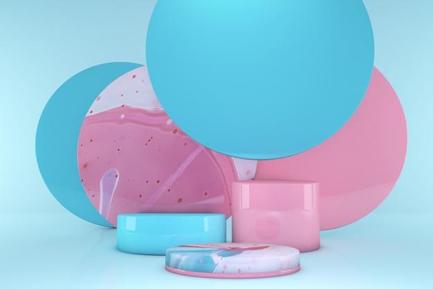 パステルカラーの背景に表彰台が分離された最小限のピンクとブルーのシーン。幾何学模様。最小限の3dレンダリング。化粧品の幾何学的な形のシーン。 3dレンダリング。