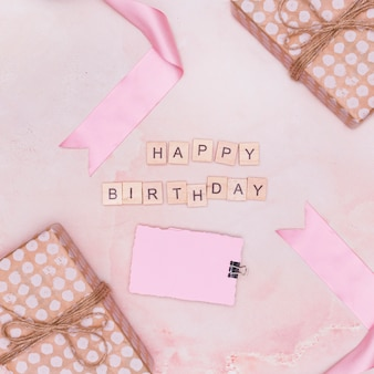 Minimal pink arrangement with birthday items