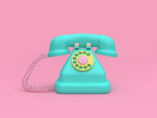 Minimal pink background green tele phone cartoon style 3d rendering technology concept