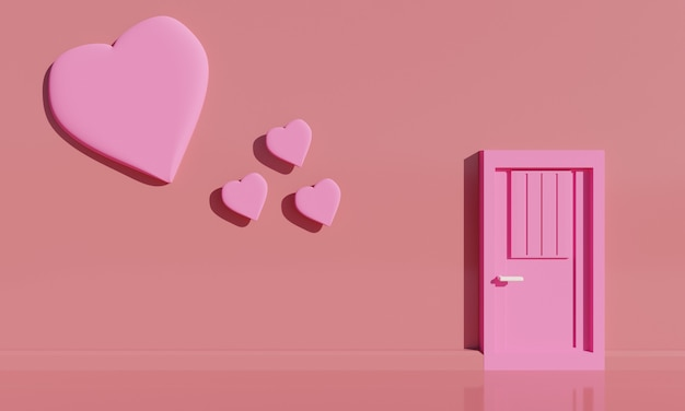 Minimal pink door and floating hearts with pink background. 3d illustration.