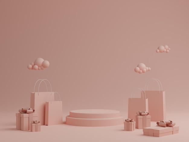 연단, 선물 상자 및 제품에 대한 쇼핑 가방과 함께 최소한의 핑크 파스텔 배경. 3d 렌더링.