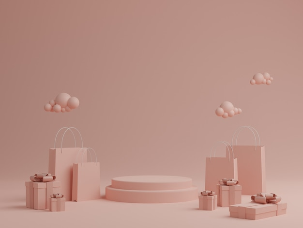 Minimal pink pastel background with podium, gift box and shopping bag for product. 3d rendering.