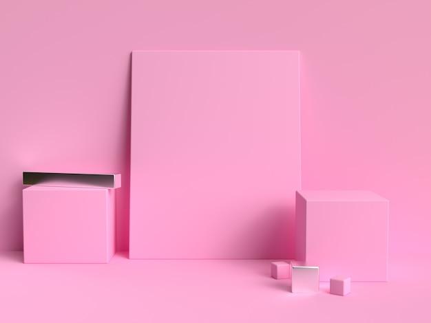 Minimal pink pastel scene geometric shape