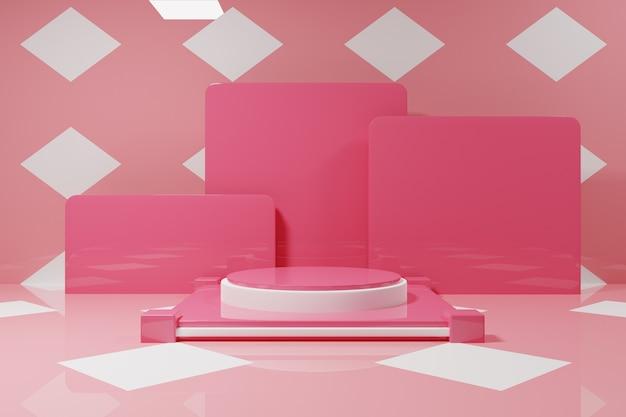 Минимальный розовый подиум макет с белым узором фона