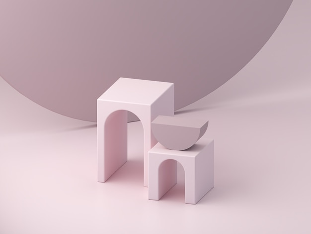 Minimal pink podium to show a product, empty scene with arches and cylinder in the background