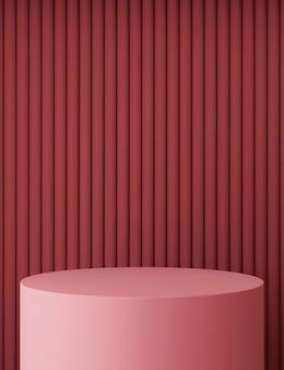 Minimal pink podium with red pattern
