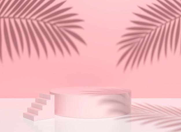 기하학적 형태와 그림자 잎이 있는 최소한의 분홍색 장면. 화장품, 쇼케이스, 매장, 진열장을 보여주는 장면. 3d 렌더링