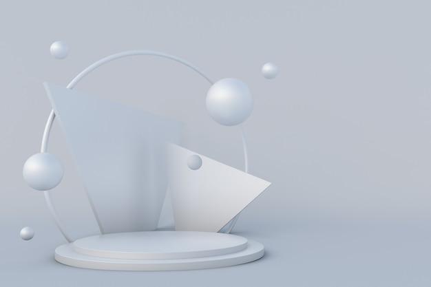 흰색 배경에 고립 된 최소한의 연단 기하학적 모양 3d 렌더링 기하학적 은색 형태