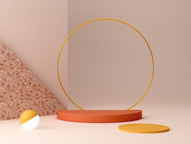 Minimal podium in ocher colors. scene with geometrical forms. gold ring, terrazzo wall, sphere with light and boxes. orange and yellow, autumn scene.