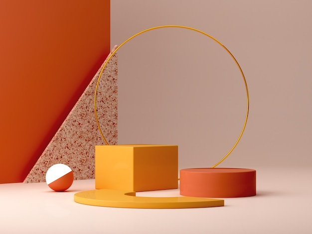 Minimal podium in ocher colors. scene with geometrical forms. gold ring, terrazzo wall, sphere with light and boxes. orange and yellow, autumn scene. .