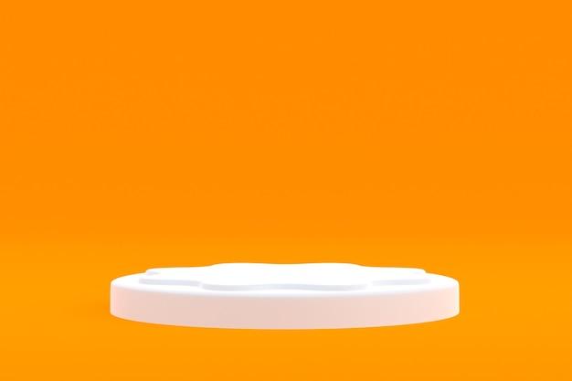 Минимальный подиум на оранжевом фоне для презентации косметической продукции
