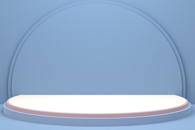 Минимальный подиум или пьедестал на синем фоне для презентации косметической продукции