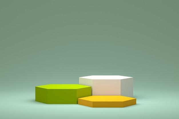 Минимальный подиум или пьедестал на зеленом фоне для презентации косметической продукции