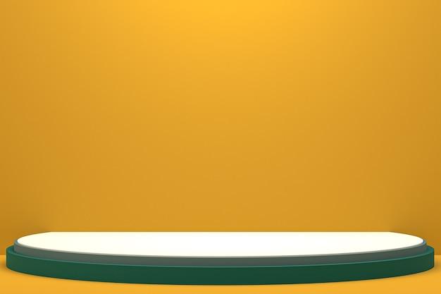 Минимальный подиум или пьедестал на оранжевом фоне для презентации косметической продукции