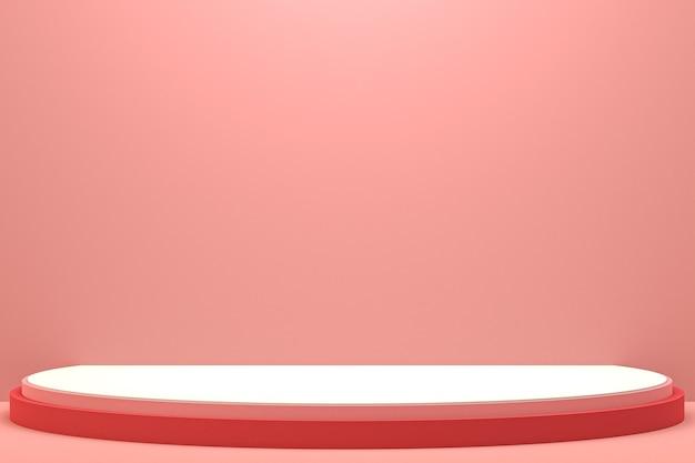 Минимальный подиум или пьедестал на розовом фоне для презентации косметической продукции